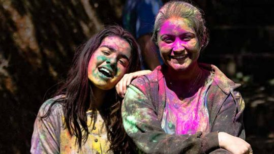 Happy students on Holi