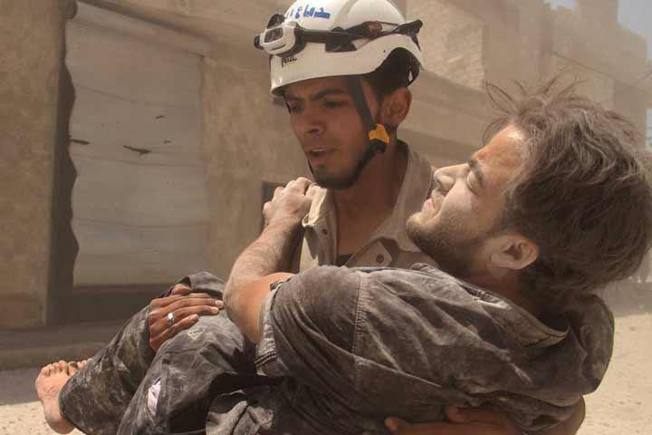 Syria Civil Defense, aka the White Helmets, respond to an emergency